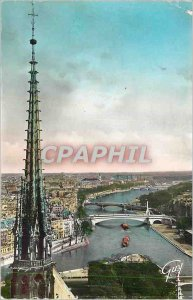 Postcard Modern Paris The arrow Panorama Notre Dame and the Seine upstream