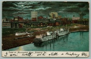 Pittsburgh PA~Monongahela River Bank Night Lights~Steamers~Kelly & Jones Co~1905