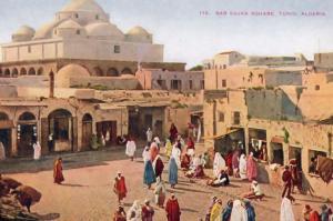 Cab Sujka Square Algeria Tunisia Market Bazaar Old Postcard