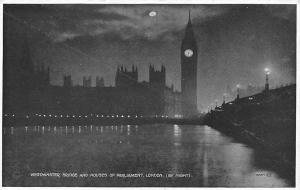 Westminster Bridge and Houses of Parliament, London by Night Moonlight