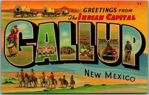 1940s GALLUP New Mexico Postcard The Indian Capitol Curteich Linen Unused