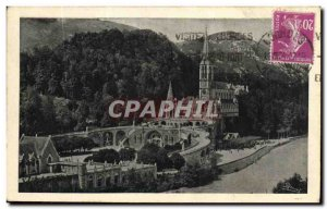 Old Postcard Lourdes Overview of the Basilica