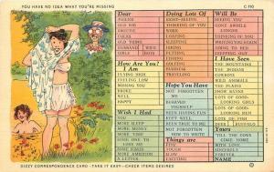 Check List 1930s Walters Skinny Dip Sexy Comic Humor Teich linen postcard 8411