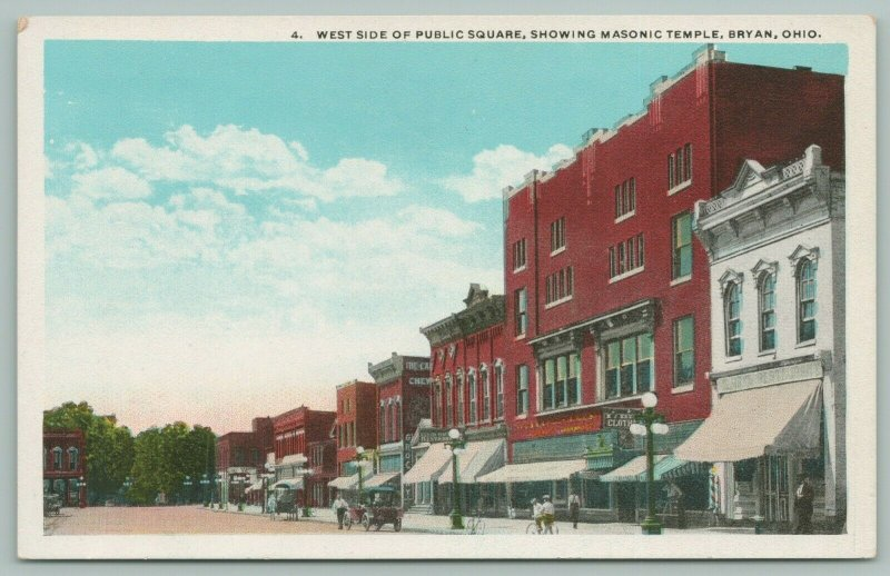 Bryan OH~Barber Shop~Kre? Clothing~Reid Restaurant~Grocery~Masonic Temple~1920s