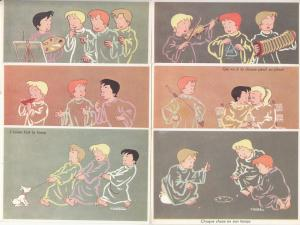 M. PETITDIDIER french artist signed children comic caricatures postcards set