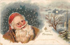 F25/ Santa Claus Merry Christmas Postcard c1910 Brown Suit Snow 2