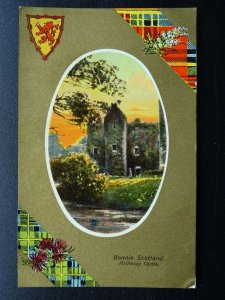 Bonnie Scotland Gold & Tartan ROTHESAY CASTLE Old Postcard by A.& G. Taylor