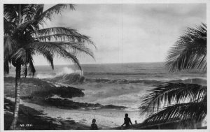 Ghana Gold Coast Beach Palms Waves real photo Postcard
