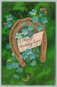 PFB~Golden Horseshoe Frames Happy Birthday Note~Blue Forget-Me-Nots~Green Back