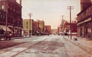 Moline Illinois~Third Avenue~People along Storeronts~Union Store~c1910 Postcard