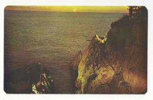 Mexico Acapulco La Quebrada Sunset Diver Cliffs Vtg Postcard