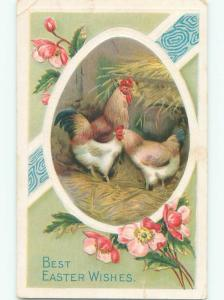 Pre-Linen easter ROOSTER AND CHICKEN IN HENHOUSE k2535