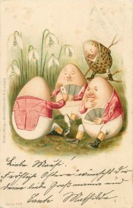 Humanized easter eggs playing cards 1902 litho postcard snowdrops Wezel Naumann