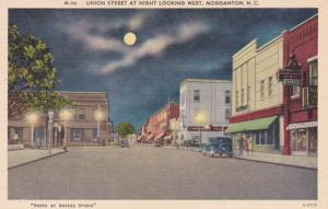 North Carolina Morganton Union Street At Night Looking West