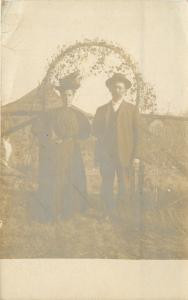 Olathe KS~M/M McMillan Under Trellis~40th Anniversary~Real Photo Postcard c1913