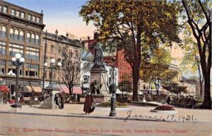 HAMILTON ONTARIO CANADA-QUEEN VICTORIA MONUMENT-GORE PARK-ST JAMES POSTCARD 1931