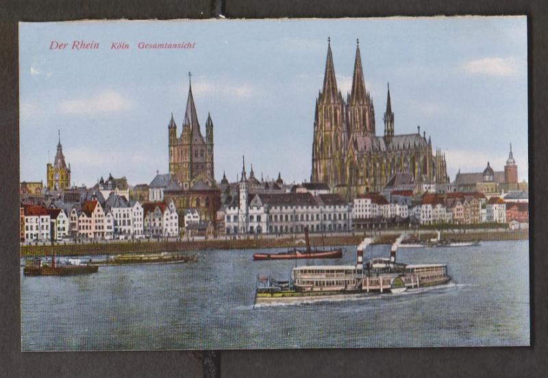 Rhein River View Of Koln With Old Cathedral & Cruis Ship - Unused - Edge Wear