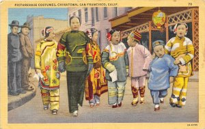 Chinese Children with Woman San Francisco California 1945 linen postcard