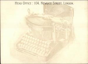 Williams Typewriter Newgate Street London Head Office Advertising Postcard