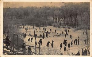 Canada Skating Winnipeg Skiers Frozen Lake Postcard