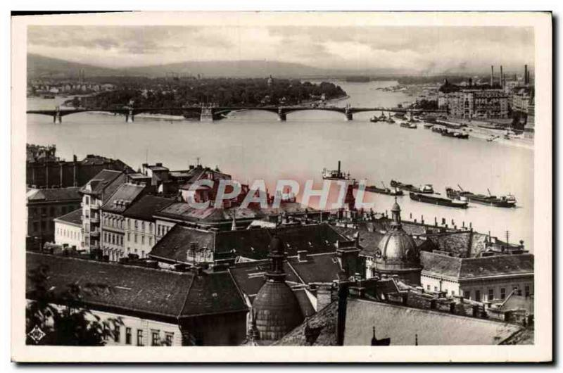 VINTAGE POSTCARD Budapest Panorama of the island St Margueri
