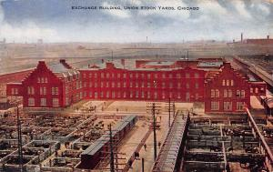 Exchange Building, Union Stock Yards, Chicago, Illinois, Early Postcard, Used