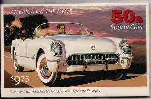 #UX440-444 - Sporty Cars - Postal Card Set - Mint