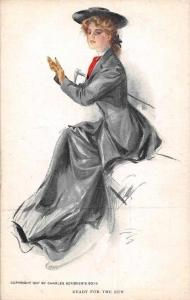 Long Dress Fashion Lady Ready for the Run Illustrator Artist Signed 1907
