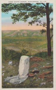 Three States Marker Middlesboro Kentucky Daniel Boone Civil War History Postcard