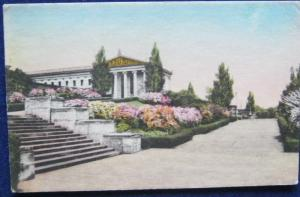 Philadelphia Museum Of Art Terrace Azaleas 1946 Hand Colored Albertype Co