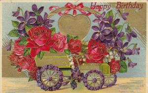 BIrthday Gold Car Decorated With Red Roses and Gold Heart