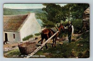 Ireland, UK-United Kingdom, Irish Mountain Farm, Horse, Farmer, Vintage Postcard