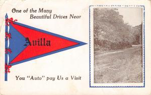 Avilla IN~Beautiful Drive Near Here~You Auto Pay Us a Visit~Pun Pennant 1913