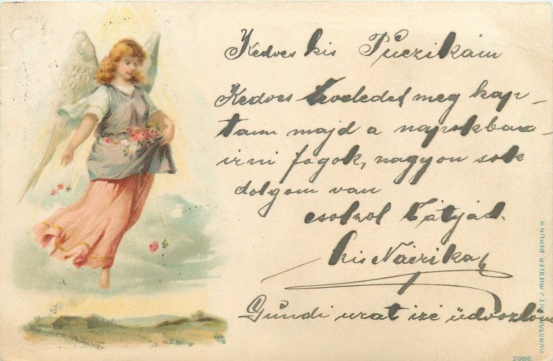 Postcard Greetings drawing flowers angel fly sky village rose multi color dress
