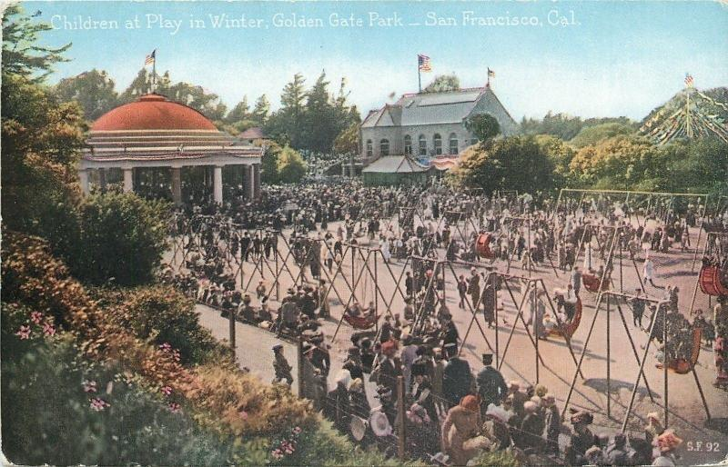 San Francisco~Golden Gate Park~Children Playground~Swing Sets~1910 Postcard