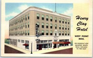 West Point, Mississippi Postcard HENRY CLAY HOTEL Street View Curteich Linen