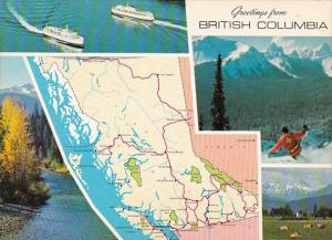 Canada British Columbia Greetings With Map