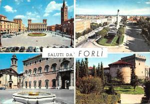 Italy Saluti da Forli Fountain Square Statue Castle Auto Vintage Cars