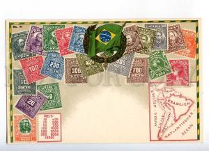 231961 BRAZIL Coat of arms STAMPS Vintage Zieher postcard