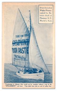 Wrigley Spearmint Sail Boat, Hall of Pharmacy, New York World's Fair NY Postcard