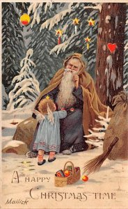 Purple Robe, Hold To Light Santa Claus, Chirstmas, 1908 light yellowing on ba...