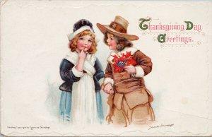 Thanksgiving Day Greetings Frances Brundage c1914 Postcard G12