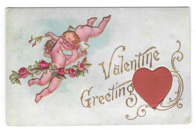 Valentine Greetings Silk Heart Cherubs Cupid Vntg Postcard