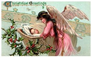 Christmas  , Angell , baby in  wicker crib , Tuck's no. 103