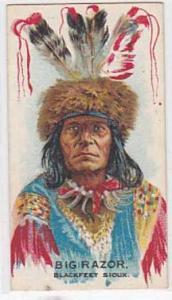 B A T Vintage Cigarette Card Indian Chiefs No 28 Big Razor Blackfeet Sioux Tr...