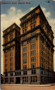 Detroit MI Charlevoix Hotel high rise street view twin towers vtg postcard