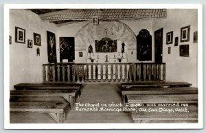 Old Town San Diego California~RPPC Chapel of Ramona's Marriage Place~1940s RPPC