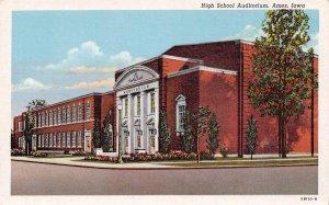 High School Auditorium Ames Iowa linen postcard