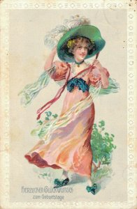 Happy New Year Jugendstil Beautiful Lady 04.52