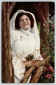 Just a Smile from North Bend Oregon~Pretty Bride in Rustic Setting~c1910